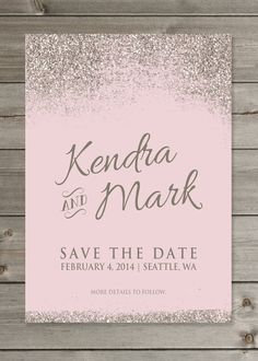"""Glittery Save the Date Wedding Announcement 5x7"""" Printable Digital File or Prints"""