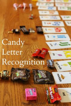 Use leftover Halloween candy as an easy letter recognition activity for preschoolers. {Reading Confetti}
