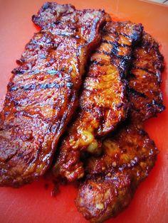 Adobo Strip Steak Tacos With Pineapple Salsa - Hispanic Kitchen Steak Recipes, Grilling Recipes, Cooking Recipes, Mexican Dishes, Mexican Food Recipes, Ethnic Recipes, Quesadillas, Carne Adobada, Empanadas