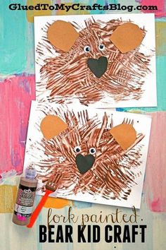 Fork Painted Teddy Bear - Kid Craft Fork Painted Bear - Recycled plastic forks and brown craft paint merge together for this fun textured bear kid craft idea! Bear Crafts Preschool, Daycare Crafts, Preschool Activities, Brown Bear Activities, Preschool Camping Theme, Camping Theme Crafts, Zoo Preschool, Camping Crafts For Kids, Kindergarten Crafts