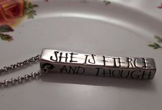 She is Fierce Necklace.  And though she be by WickedWordsmithCo