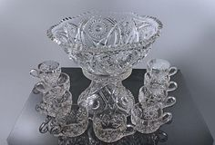 Antique EAPG Punch Bowl Set Imperial Glass by MountainAireVintage
