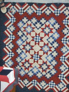 Stars and Stripes Forever Sampler designed by Judy Martin. Pattern is in Knockout Blocks and Sampler Quilts and Star Power cd-Rom from EQ.would love to make a quilt like this looks very patriotic Flag Quilt, Patriotic Quilts, Star Quilts, Quilt Blocks, Star Blocks, Quilting Projects, Quilting Designs, Sewing Projects, Quilting Ideas