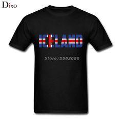 Letter iceland Flag Tees Shirt Men Casual Custom Short Sleeve Valentine's Plus Size Family  Tshirts #Affiliate
