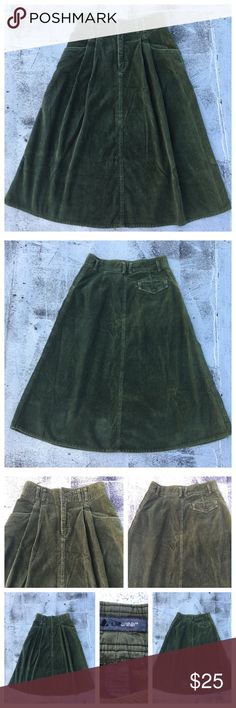 """VINTAGE Corduroy Highwaisted A line Skirt Cool 80s Highwaisted Army green A line corduroy skirt. Wonderful. Simple. Minimal. Classic. By LIZWEAR Sz12 Made with sizable side pockets and belt loops, this corduroy skirt will quickly become a favorite in your closet. In beautiful vintage condition Length: 33"""", Waist: 30"""" Vintage Skirts Midi"""