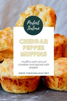 Cheddar Muffins - simple recipe perfect to go with soup or salad. Easy recipe with LOTS of cheddar flavor subtly spiced with pepper. Biscuit texture with lots of cheesy flavor. Side Dishes Easy, Side Dish Recipes, Oat Bran Muffins, Cup Of Soup, Winter Soups, Meat And Cheese, Muffin Recipes, Cake Recipes, Cheese Platters