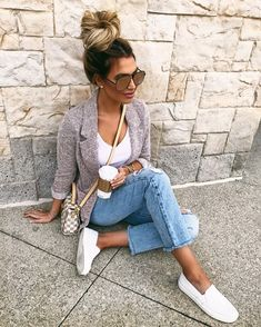 0664a20aa64 fall casual style addict   grey blazer + white top + jeans + slip on