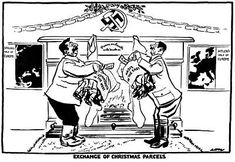 Germany and Russia agreed to bury the hatchet; they agreed to bury it in Poland. BBC TV, Why Appeasement?-Cartoon by David Low, Criticism on the non-agression pact of Hitler Political Satire, Political Events, Political Cartoons, Cartoon Shows, A Cartoon, History Cartoon, Latest Cartoons, Appeasement, History Classroom