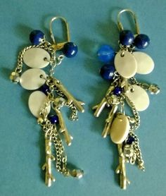 Vintage / Retro Drop Earrings of Blue & White Beads Silver Coloured Twig Shapes