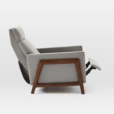 "Spencer Wood-Framed Upholstered Recliner | west elm Distance chair must be from wall when fully reclined: 22"". Depth of chair when fully reclined: 65.6"""