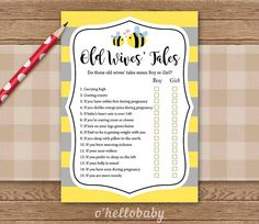Printable Baby Shower Games Printable - Yellow Bumble Bee Baby Shower Madlibs - Baby Shower Advice For Mom-to Be Games 007 - Yellow Bumble Bee Baby Shower Madlibs Baby Shower by ohellobaby - Baby Shower Advice, Baby Shower Games, Baby Shower Parties, Shower Ideas, Baby Shower Printables, Baby Shower Invitations, Baby Shower Themes Unisex, Mommy To Bee, Baby Shower Yellow