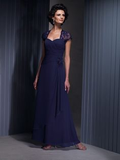 A-line/Princess Kort Erme Kjæreste Chiffon Ankle-length Mother of the Bride Dresses