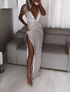 Maxi dress party - Deep V Neck Sequin Maxi Dress Sexy Prom High Split Long Dress Autumn Strap Sparkly Evening Party Dress Vestido De Mujer – Maxi dress party Sexy Maxi Dress, Sexy Dresses, Lace Dress, Bodycon Dress, Formal Dresses, Sheath Dress, Elegant Dresses, Prom Dress, Gold Formal Dress