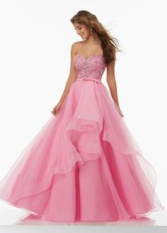 Fashion Beautiful Sweetheart Beaded Bodice Tiered Organza Iced Pink Ball Gown