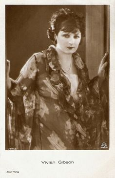 """""""British actress Vivian Gibson (1898 - 1981) was a star of the German and Austrian silent cinema. After the arrival of sound her film career ended."""" #vintage #silent_films #actress #movies #1920s"""