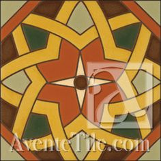 "Malibu Tile - Cordova B 6"" x 6"" Hand Painted Ceramic Tile #orange"