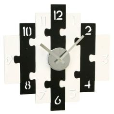 """Contemporary Wooden Wall Clock """"Black And White Puzzle Clock"""" Wall Clock Black And White, White Wall Clocks, Wooden Clock, Puzzle, Superpower, Contemporary, Autism, Christmas Gifts, Craft Ideas"""