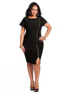 Ashley Stewart: Asymmetrical Zipper Front Dress
