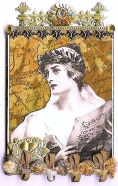 Nostalgic Collage': ATC - French Sepia Lady I