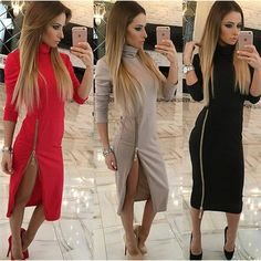 Now  at our store Womens High Neck Casual Dress Side Zipper Up Split Sexy Long Sleeve Straight come see at A Sheek Boutique.