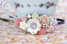 Fields of Flowers Collage Headband Shabby by FrenchAtticDesign