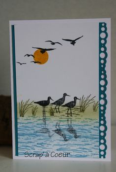 Rien de tels que des motifs de plans d'eau pour réaliser des  scènes aquatiques magnifiques. Tamponner oiseaux et roseaux me rappelle de mé... Masculine Birthday Cards, Birthday Cards For Men, Masculine Cards, High Tide Stampin Up, Feather Cards, Nautical Cards, Fun Fold Cards, Stamping Up Cards, Pretty Cards