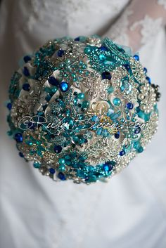 "Blue Jewelry Wedding Brooch Bouquet. Deposit – ""Sapphire Blue"". Turquoise, Teal, Tiffany, Silver Bridal Broach Bouquet"
