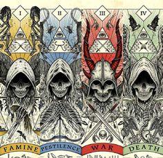 The 4 horsemen of the apocalypse. Fantasy Kunst, Dark Fantasy Art, Apocalypse Art, Theme Tattoo, Satanic Art, Arte Obscura, Demon Art, Dark Art Drawings, Occult Art
