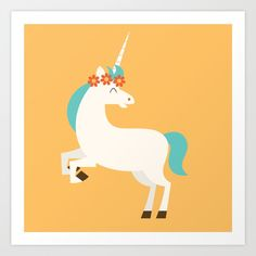 This illustration from the Animal Alphabet collection features a unicorn.<br/> <br/> Perfect for animal lovers of all ages, this bright and colorful character would make a cheerful addition to any room.<br/> <br/> © Zara Picken www.zaraillustrates.com