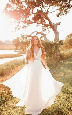 SIMPLE V-NECKLINE WEDDING DRESS WITH LACE BODICE Boho Bride, Boho Wedding Dress, Designer Wedding Dresses, Stella York Wedding Gowns, Stella York Bridal, Wedding Dress Necklines, Bridal And Formal, Bridal Collection, Lace Bodice