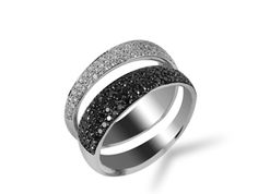 Roberto Coin Scalare Ring, Fashioned in 18K WG, Featuring Round Black and White Diamonds Equaling 1.30 Carats.