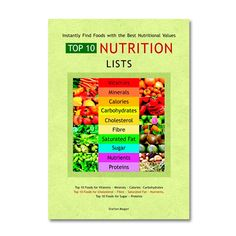 The Top 10 Nutrition Lists can save a lot of research time. This guide provides 41 Top 10 Lists of a wide variety of nutrients including vitamins, minerals, calories, carbs, cholesterol, fibre, sugar, nutrients and proteins.