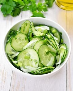 Buy Vegetable salad from cucumber by on PhotoDune. Vegetable salad from cucumber and parsley Easy Salads To Make, Cucumber Salad, Vegetable Salad, Summer Salads, Diabetic Recipes, Side Dishes, Yummy Food, Vegetables, Eat