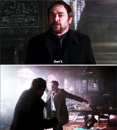 Supernatural Brother's Keeper // Don't [gifset] --- Is it bad that I'm trully concerned about not having Crowley next season? Supernatural Season 10, Supernatural Fandom, Winchester Boys, Winchester Brothers, The Fault In Our Stars, Super Natural, Crowley, Misha Collins, Destiel