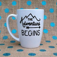 New Grad Coffee Mug - Retirement Coffee Mug - The Adventure Begins - Handpainted Coffee Mug