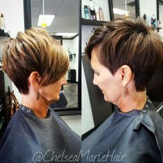 asymmetrical pixie cut with mocha and hilites by Chelsea Marie @dpsalon