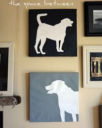 Create a silhouette painting of your pet! Take a used canvas that you might find at Habitat for Humanity ReStore, flip the canvas over to the white unused side, print a large photo of your pet, trace the photo to the canvas, and then paint outside the lines!