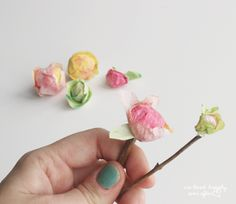 We Lived Happily Ever After: How to make flower buds & attach paper flowers onto real stems