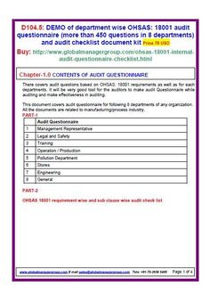 ohsas 18001 sample forms document kit covers sample copy of blank rh pinterest com ISO 18001 Standard PDF OHSAS 18001 World Logo