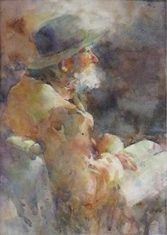 """""""Old Man Reading"""" by Fealing Lin.  Example of allowing paint to run, creating an image in muted colors created by blended """"runs."""""""