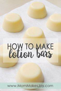 Quick and easy lotion bars recipe made with beeswax, coconut oil, and almond oil. Ingredient substitutions are simple, and these bars feel amazing! | How to make lotion bars | DIY Bath & Body | Dry skin | Eczema relief | Mom Makes Joy