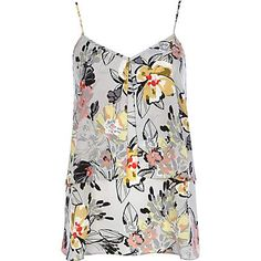 Grey Floral Double Layer Longline Cami Top  Size 12UK (12 in UK = US Size 8) - Color: Grey Cost: $44.00 - us.riverisland.com
