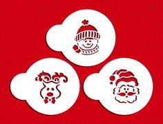 Designer Stencils Whimsical Holiday Cookie Stencil S. Christmas Stencils, Santa Face, Whimsical Christmas, Decorating Tools, Latte Art, Stencil Designs, Wooden Crafts, Holiday Cookies, Food Coloring