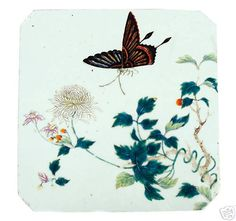 Chinese Qing Painted Porcelain Plaque Butterfly - 1800s