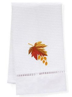 Embroidered Waffle Weave Guest Towels  Perfect for an autumn makeover in the bath.