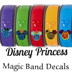So cute! Magic band decals #disney #magicband #banddecals #minnieprincesses Disney Princess Magic Band Decal for 2.0 or Original - 4 Options - Belle Elsa Cinderella Snow White or Moana - MagicBand Skins Stickers afflnk