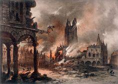 Bombardment of Arras (Dép. Pas-de-Calais), 1915. Colour lithograph after a drawing by Gustave Fraipont (1849–1923). Paris, Collection Jean-Pierre Verney.