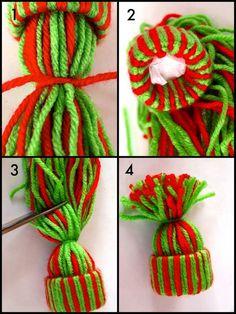 Garn Hut Ornament mit Recycling-Toilettenpapierrollen Craft Tutorial gemacht Yarn hat ornament made with recycled toilet paper rolls craft tutorial,