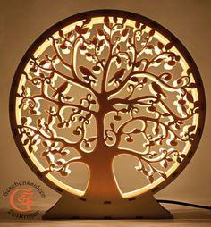 Lebensbaum Baum des Lebens aus Holz mit LED Licht Deko Weihnachtsgeschenk Wohnzimmer Dekoration