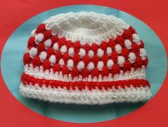 A baby crochet  hat with puff stitch